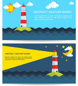 Modern weather background with lighthouse, sun, moon and clouds — Stock Vector