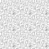 Funny cartoon cats seamless background — Stock Vector