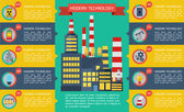 Modern industrial flat infographic background. — Stockvektor
