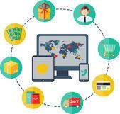 Modern flat vector shopping infographics. — Stock Vector