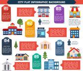 Modern flat city infographics background. — Stockvektor
