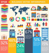 Modern flat city background infographics — Stockvektor