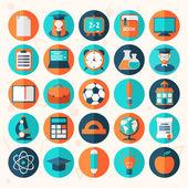 Platte onderwijs icons set — Stockvector