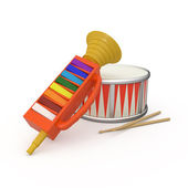 Fife, drum and two drumstick — Stock Photo