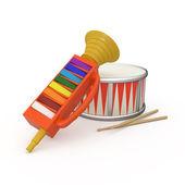 横笛、 鼓和两个鸡腿 — 图库照片