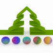 Abstract fir-tree and colored balls — Stock Photo #34094045