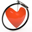 Keychain in red heart, 3D — Stock Photo