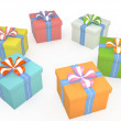 Set of gift boxes, 3D — Stock Photo