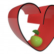 Heart and apple, 3D — Stock Photo #39973577