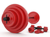 Weight and pair of dumbbells, 3D — Stockfoto