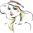 Young woman in a hat — Stock Vector #30382121