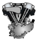 Classic V-twin motorcycle engine — Stockvektor