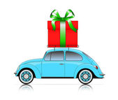 Blue car with present — Stock Vector