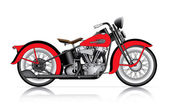 Red classic motorcycle — Stock Vector