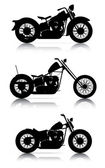 Set of motorcycle silhouettes — Stock Vector