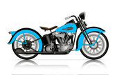 Blue classic motorcycle — Stock Vector