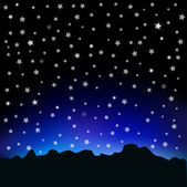 Starry sky and mountain landscape — Stock Vector
