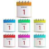 Calendar days of the week — Stock Vector