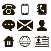 Contact Icons Set — Stock Vector