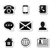 Contact Icons Set as labels — Stock Vector
