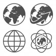 Globe earth icons set — Stock Vector