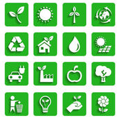 Modern Ecology Icons with Shadow — Stock Vector