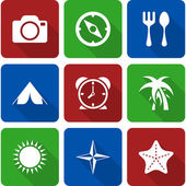 White Travel Icons with Long Shadows Vol 2 — Stock Vector