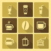 Coffee Drinks Icons With Long Shadow — Stock Vector