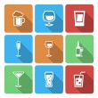 图库矢量图片: Drink Icons with long shadow