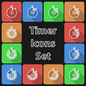 Timer Icon Set with Long Shadow — Stock Vector