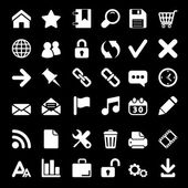 Icons For Web and Mobile on black background — Stock Vector