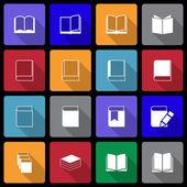 Book Icon set wiht Long Shadow — Stock Vector