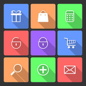 Shopping Icons set with Long Shadow — Stock Vector