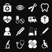 White Medical Icons Set — Stock Vector