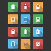 Battery Black Icons with Long Shadow — Stock Vector