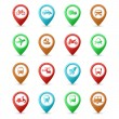 Map pins with Transport icons — Stock Vector