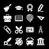 White Education Icons — Stock Vector