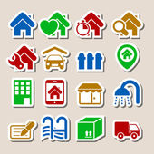 Real Estate Icons as Labels — Stock Vector