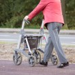 Older person with walker — Stock Photo