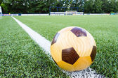 Wooden football on sideline — Stock Photo