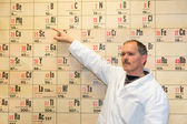 Chemistry teacher pointing at periodic table — 图库照片
