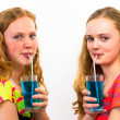 Two teenagers drink blue soda — Stock Photo