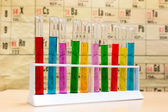 Chemistry test tubes with different colored liquids — Stockfoto