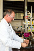 Chemist heating liquid in glass flask — Stock Photo