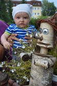 Junior with Pinocchio — Stock Photo