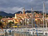 Marina and the Old Town in Menton, France — Stock Photo