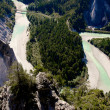 Rhine river gorge in Swiss Alps, Switzerland. River winding under high cliffs. — Stock Photo