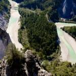 Rhine river gorge in Swiss Alps, Switzerland. River winding under high cliffs. — Stock Photo #31553193