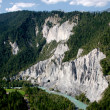 Rhine river gorge in Swiss Alps, Switzerland. River winding under high cliffs. — Stock Photo #31553529