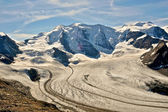 Piz Palu and glaciers in the valley seen from Diavolezza and Munt Pars. Alps in Switzerland. — Stock Photo